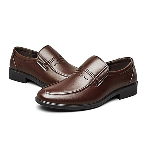 MUYII Oxfords Dress Chaussures Pour Hommes à La Main Des Hommes Plaine Toe Business Loafer Formel En Cuir Chaussures Casual Classic Mens Confortable Chaussures Brown 0F3Es7G