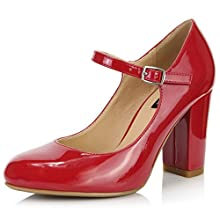 DailyShoes Women's Chunky Classic Round Toe Ankle Strap Shoes with Buckle Closure, Red Patent Leather, 7.5 B(M) US