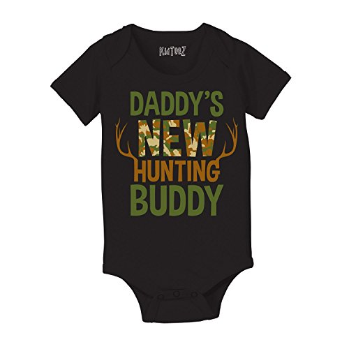 Baby One Piece 'Daddy's New Hunting Buddy' 6 Months, Black KidTeez