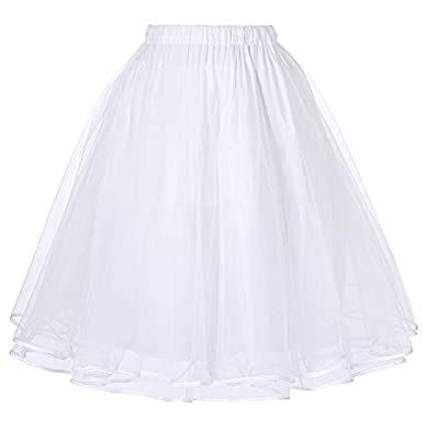JS Fashion Vintage Dress Belle Poque Women's Petticoat Crinoline 50's Christmas Tutu Underskirts (2 Layers)