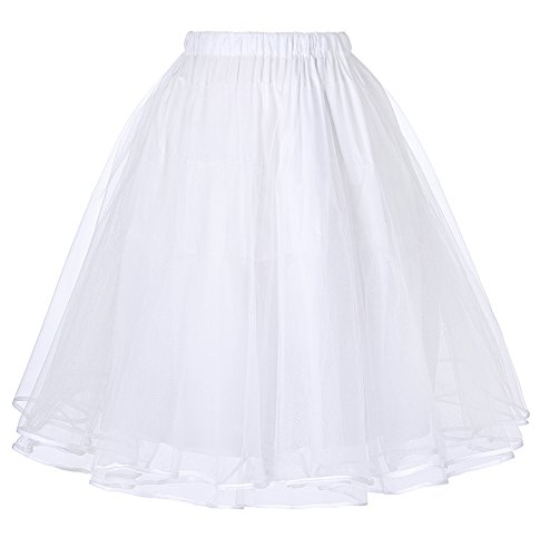 Belle Poque Retro Xmas Dress Petticoat 25 Length Underskirt White S ()