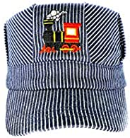 Young Boys Choo Choo Train Embroidered Steam Engine Train Engineer Hat with I ❤️ Trains