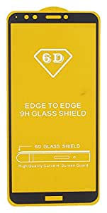 6D Glass Screen Protector for Huawei Y7 2018, Black