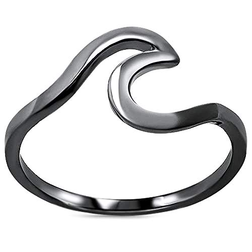 Oxford Diamond Co Wave Design .925 Sterling Silver Ring Sizes 2-12 Choose Your Color (Black Plated Silver, 3)