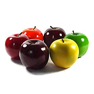 Viabella 6-pack Artificial Apple Extra-large 3.75-inch - Round Apples Fruit - Six Pieces 90