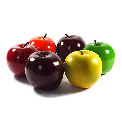6pc Artificial Apple Variety Extra-large 3.75-inch - Plastic Round Apples Fruit - Six Pieces Red Green Yellow (Plastic Apple)