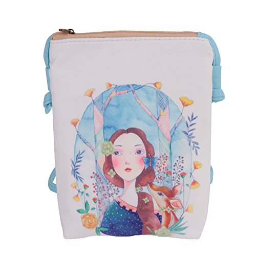 Price comparison product image Women Kids Students Cute Cartoon Mini Cross Body Bags Purse Small Canvas Key Money Cell Phone Holder Case Wallet Shoulder Bag Clutch Handbag