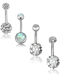 4-5Pcs 14G Stainless Steel Belly Button Rings for Women Girls Navel Rings CZ Body Piercing