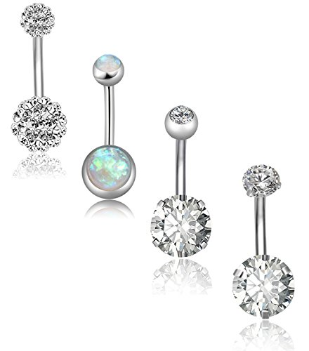 Body Piercing Belly Button - REVOLIA 4Pcs 14G Stainless Steel Belly Button Rings for Women Girls Navel Rings CZ Body Piercing