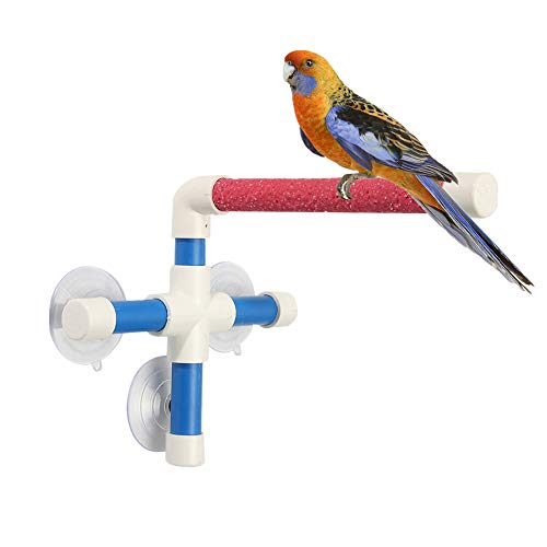 PIVBY Bird Perch Stand Portable Suction Cup Bird Window and Shower Perch Toy for Bird Parrot Macaw Cockatoo African Greys Budgies Parakeet Cockatiel Conure Lovebirds Bath Perch Toy
