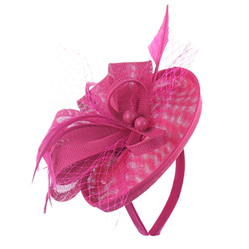 Felizhouse Fascinator Hats Women Ladies Feather Cocktail Party Hats Bridal Headpieces Kentucky Derby Ascot Fascinator Headband (#2 Cambric Fuchsia)
