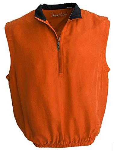 - Men's Silk Lightweight Sleeveless Half-Zip Golf Pullover Water Repellent (XL, Almond Orange)