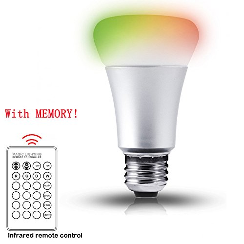 10W Dimmable A19 LED Bulbs, Color Changing, 270° Beam Angle, RGB, 16 Color Choice, Medium Screw Base, Remote...