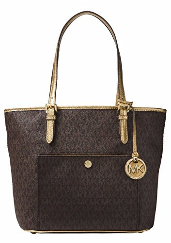 Signature Jet Set Item Medium Top Zip Snap Pocket Tote, Brown/Gold by Michael Kors