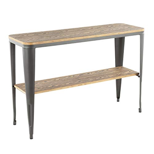 - Lumisource Oregon Industrial Console Table, Rectangular, Bamboo/Gray
