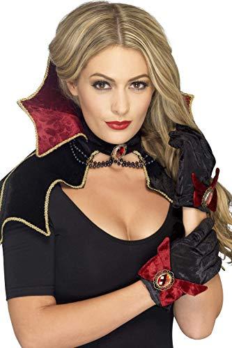 Smiffys Women's Fever Vamp Kit, Cape, Collar and Gloves, Halloween, Fever, One Size, -