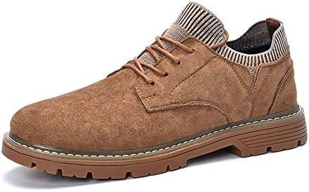オックスフォード用男性ロートップ作業靴レースアップスエードアッパーラウンドつま先弾性靴下襟ステッチ英国スタイルアンチスキッド YueB HAB (Color : 褐色, サイズ : 24.5 CM)