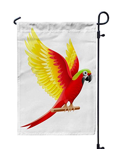 GROOTEY Welcome Outdoor Garden Flag Home Yard Decorative 12X18 Inches Parrot Macaw Waving Wings Colored Feathers Sitting Wooden Isolated White Background Ara Perch Double Sided Seasonal Garden Flags -