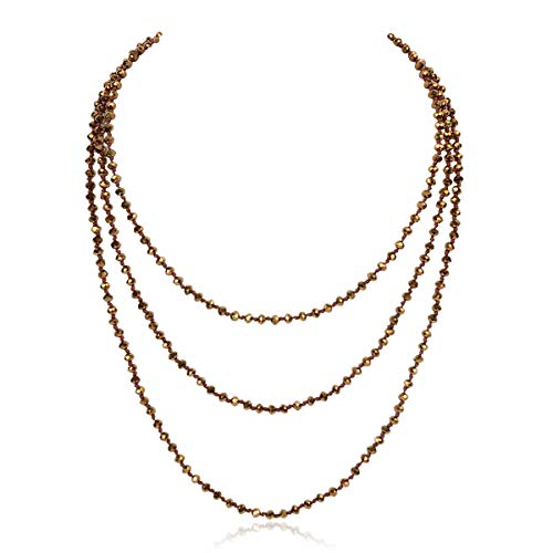- RIAH FASHION Knotted Small Bead Statement Necklace - Handmade Versatile 60