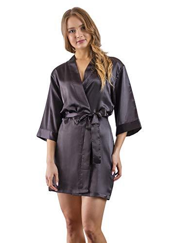 (Women's Bridesmaid Satin Kimono Robe -Limited Time Sale $9.99 Through The end of March Whiles Supplies Last. (Black, L/XL) )