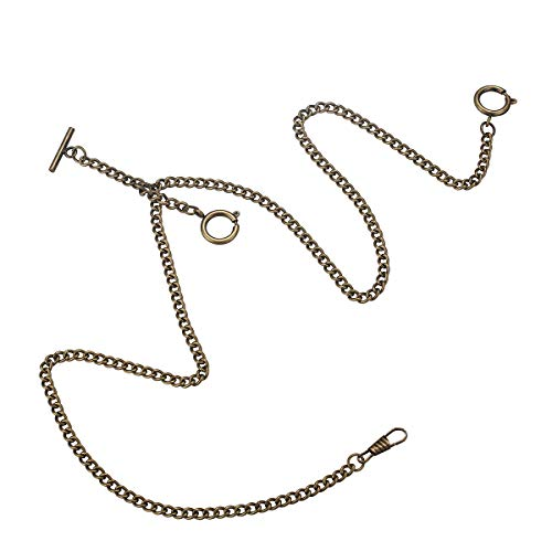 Decent Chrome-Plated Vest Waistcoat Pocket Watch Chain Tone Link Hook (Three Clasps - Bronze)