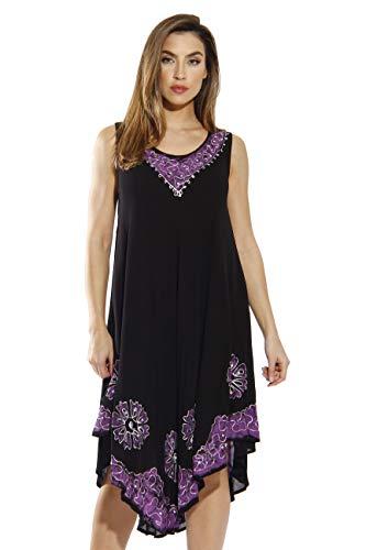 - Riviera Sun 20653-BP-1X Dress/Dresses for Women Black/Purple