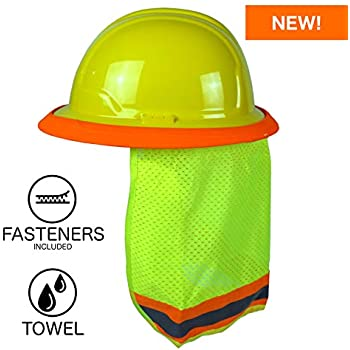 BEST EVER Pro Hard Hat Sun Shade. Premium Neck Shield with Secure-Fit Fasteners & Built In Sweat Towel. Fits Full & Standard Brim Safety Helmets.