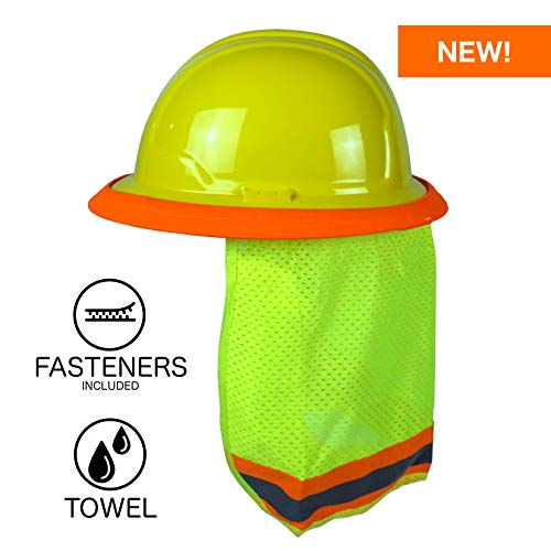 BEST EVER Pro Hard Hat Sun Shade. Premium Neck Shield with Fasteners and Built In Sweat Towel. Fits Both Full & Standard Brim Safety Helmets. Ideal for Construction, Landscaping, ()