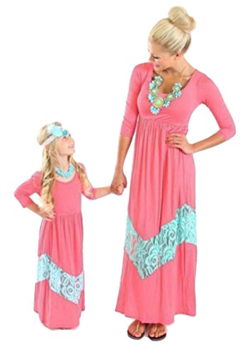 OMZIN Family Matching Clothes Mommy Daughter Stripes Long Dress Pink - Hilo In Hawaii Shopping