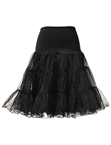 Slip Half Vintage (Remedios Women's 50s Vintage Petticoat Skirt Crinoline Tutu Underskirts for Women,Black,L-XL)
