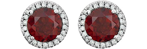 Mozambique Garnet and Diamond Halo Button Earrings, Rhodium-Plated 14K White Gold (.13 Cttw, Color HIJ, Clarity I1-I2) by The Men's Jewelry Store (for HER)