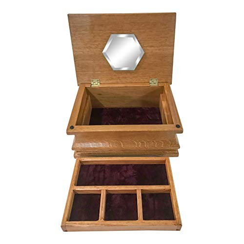 Allamishfurniture Amish Jewelry Box Two Level with Mirror Quarter Sawn White Oak