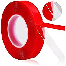 Odowalker 32.8ft(11 yards/10m) PET Acrylic Clear Double Sided Adhesive Tape Weatherproof Heavy Duty Glue Incredibly Strong Double-Sided Tape for Industry, Auto and Household (6mm×10m)