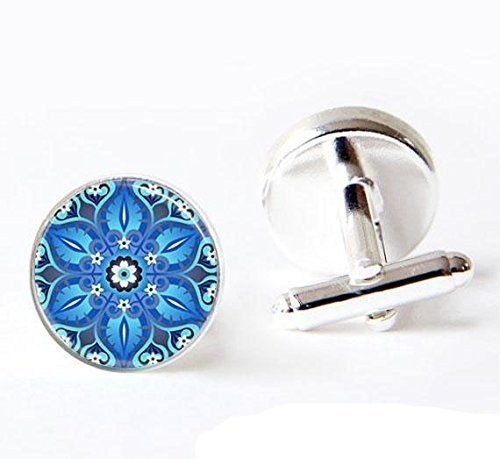 Vintage Blue Buddhism Mandala Flowers Glass Cuff Links-Silver Blue Kaleidoscope Geometric Floral Cufflinks for Men Women-Handmade Shirts Dress Suits C…