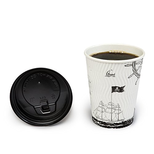 Disposable Coffee Cups – Nautical Ships And Pirate Art- Premium 12-Oz Ripple Wall Hot Paper Cups With Lids - 50 Count