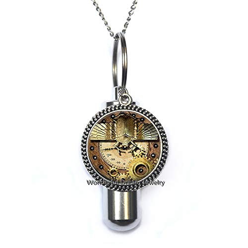 (Waozshangu Gears Winged Scarab Statement Cremation URN Necklace URN Women Jewelry,Gear Cremation URN Necklace,Everyday Jewelry Gear URN Charm Cremation URN)