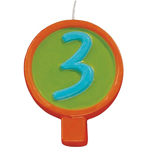 JAM Paper® Birthday Number Candles - # 3 Rounded Number Candle - (2 1/2 x 1 3/4 in) - Sold Individually