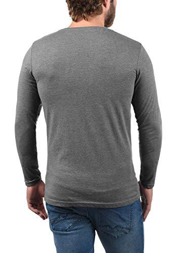 Rundem Melange8236 100Baumwolle Ausschnitt Langarm Herren Langarm Shirt Basal Solide Multipack T Mit Grau CdxBoe