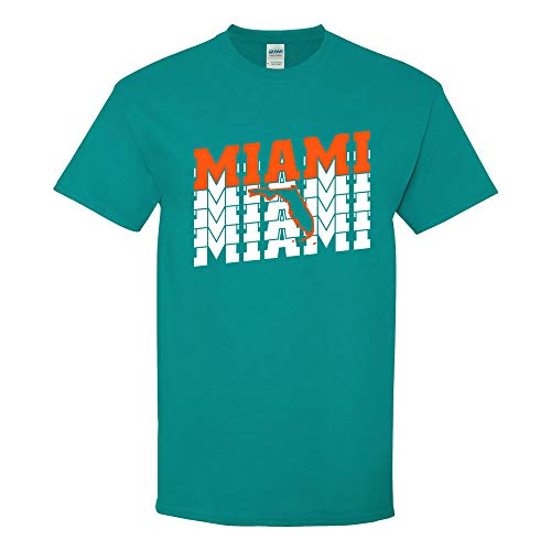 UGP Campus Apparel Miami Retro Repeat - Sports Team City Pride Tailgating T Shirt - Large - Tropical Blue