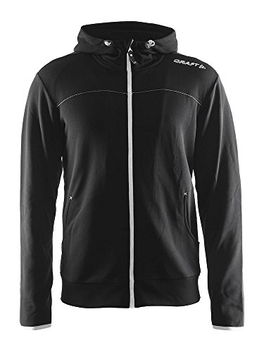 Craft Mens Leisure Full Zip Training Athletic Hooded Jacket, Large, Black/Platinum (Flex Fit Full Zip Hoodie)