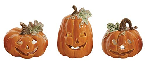 (Jack-O-Lantern Ceramic Halloween Figurines - Set of 3)