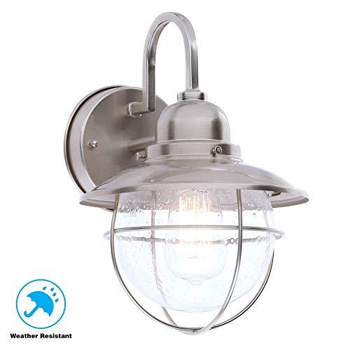 (Hampton Bay BOA1691H-BN 1-Light Outdoor Cottage Lantern, Brushed Nickel )