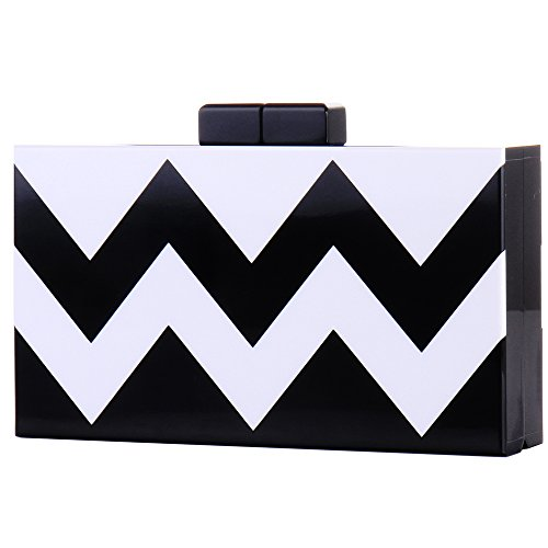 White Striped Bags Evening Purse Women Clutch Acrylic Gold Box and Silver Crossbody SqwqPxv7