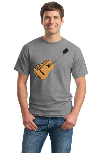 THIS MACHINE KILLS FASCISTS Unisex T-shirt / Woody Guthrie Folk Music USA Guitar Tee-Grey-Large (This Machine Kills compare prices)