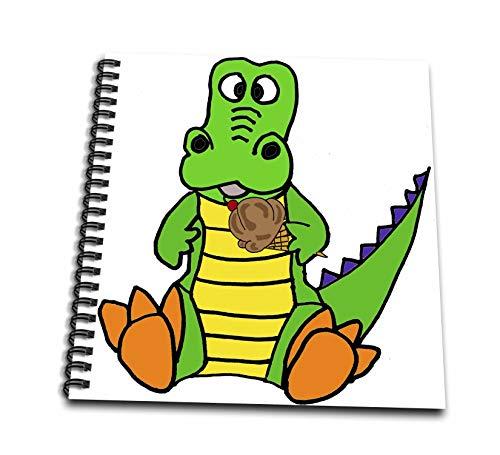 12x12 Album Chocolate (3dRose All Smiles Art Animals - Cute Funny Baby Alligator Eating Chocolate Ice Cream Cone - Memory Book 12 x 12 inch (db_288206_2))