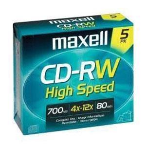 MAXELL 630025 CD-RW Discs, 700MB/80min, 12x, w/Jewel Cases, Gold, 5/Pack