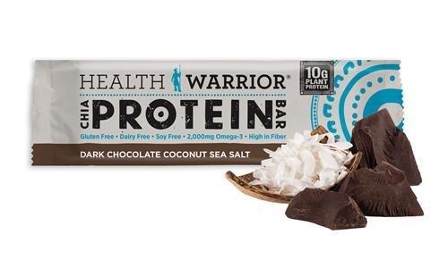 Health Warrior Dark Chocolate Coconut Sea Salt Chia Protein Bar, 1.76 Ounce - 12 per case.