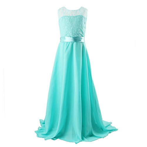 Floor Length Dress, Acecharming Big Girls Lace Chiffon Dress Wedding Bridesmaid Dress Dance Party Gown Maxi Girl Long Dress Turquoise Size 10(Suitable for 8-9 Years)]()