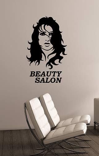 Beauty Salon Logo Vinyl Wall Sticker Decal Beautiful Woman Face Art Decorations Parlor Shop Window Mirror Make Up Studio Decor beauty7 -