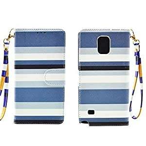 LZX Fashion Dark Blue and Light Blue Lattice PU Leather Full Body Cover with Card Solt Cave for Samsung Galaxy Note 4
